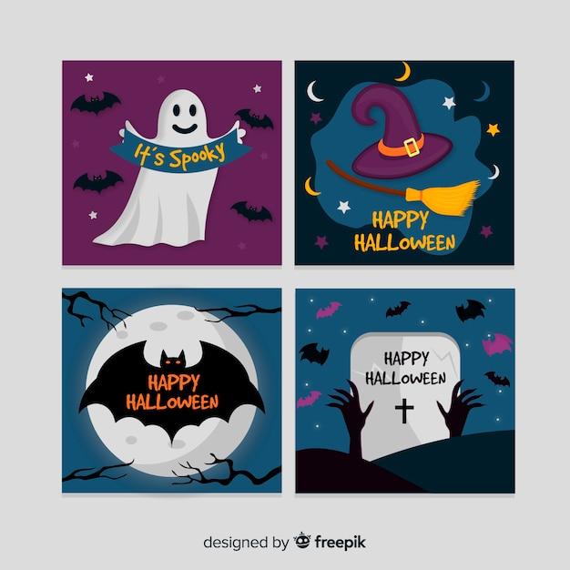 Feliz coleção de cartão de dia das bruxas Vetor grátis