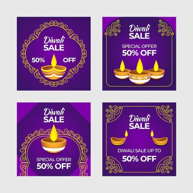 Feliz coleção de postagens de venda do instagram de diwali Vetor grátis