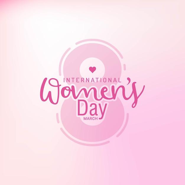 Feliz comemoração do dia da mulher em março com texto elegante Vetor Premium