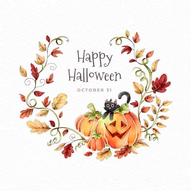 Feliz coroa de halloween com folhas de outono Vetor grátis
