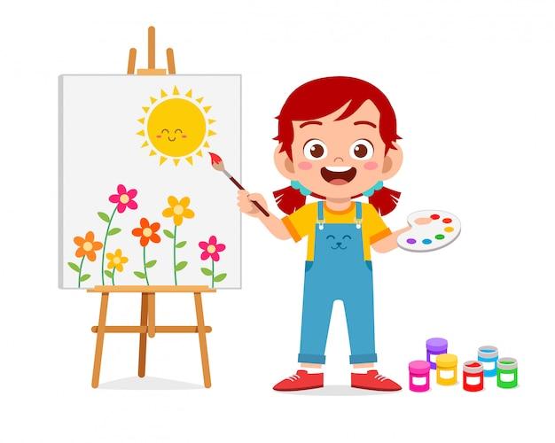 Feliz criança menina bonitinha desenhar na tela Vetor Premium