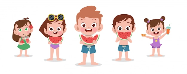 Feliz, crianças, praia, feriado, vetorial, ilustração, isolado Vetor Premium