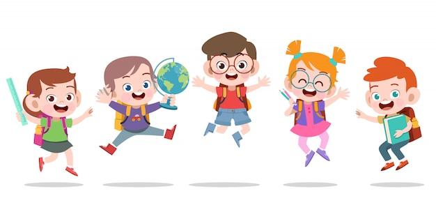 Feliz, crianças, pular Vetor Premium