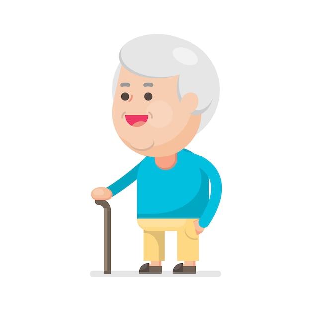 Feliz, cute, homem velho, sorrindo Vetor Premium