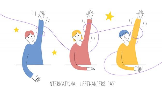 Feliz dia canhotos cartão. parabenize seu amigo canhoto. 13 de agosto, dia internacional dos canhotos. crianças levantam as mãos esquerdas com orgulho, apoio e conceito de unidade. ilustração Vetor Premium