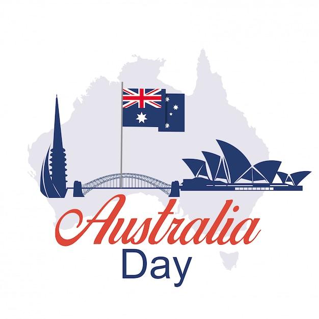 Feliz dia da austrália 26 de janeiro de fundo festivo Vetor Premium