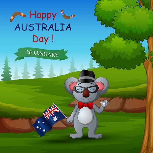 Feliz dia da austrália com coala na natureza Vetor Premium