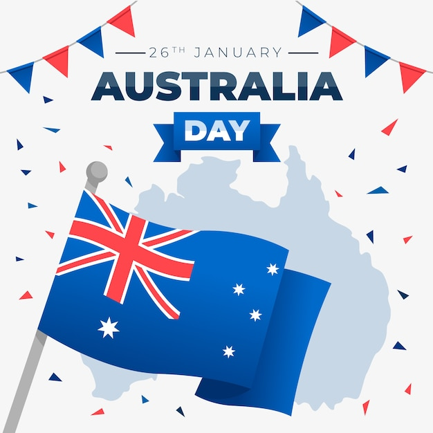 Feliz dia da austrália letras com bandeira Vetor grátis