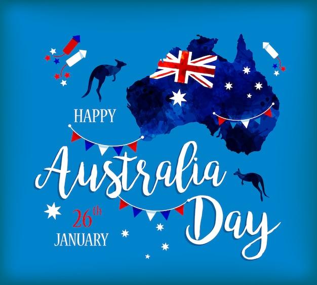 Feliz dia da austrália rotulação Vetor Premium