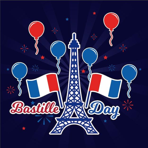Feliz dia da bastilha torre eiffel e balões Vetor grátis