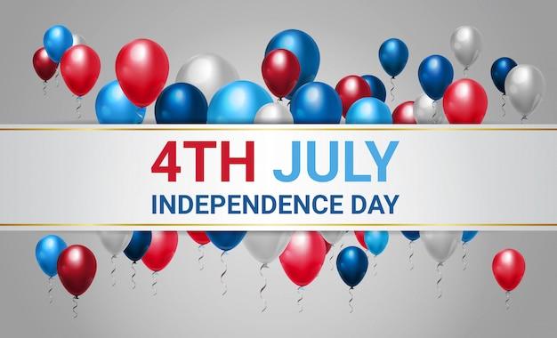 Feliz dia da independência 4 de julho balões coloridos Vetor Premium