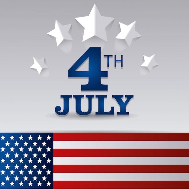Feliz dia da independência 4 de julho eua design Vetor grátis