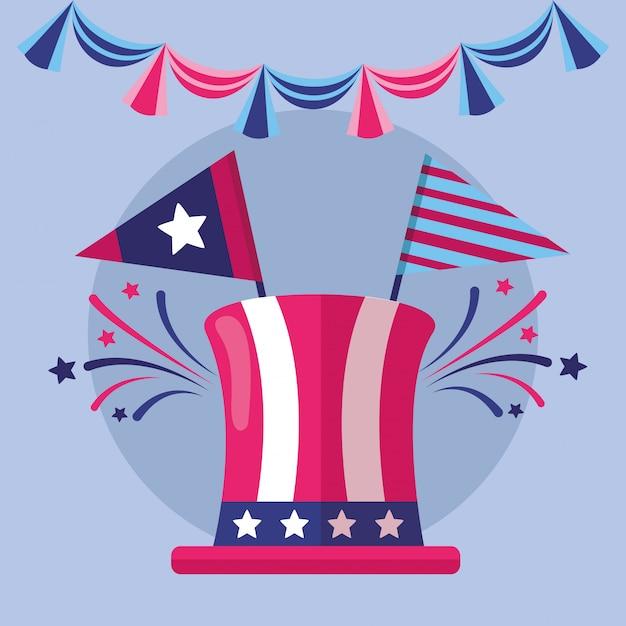 Feliz dia da independência americana Vetor grátis