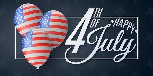 Feliz dia da independência brochura. 4 de julho. padrão de bandeira do estados unidos da américa. Vetor Premium