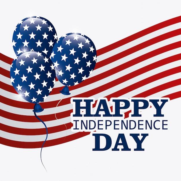Feliz dia da independência cartão, 4 de julho, design de eua Vetor grátis