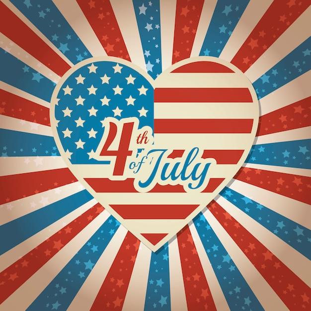 Feliz dia da independência, celebração de 4 de julho nos estados unidos da américa Vetor grátis