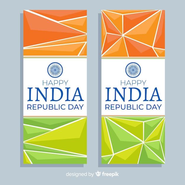 Feliz dia da independência da índia banners Vetor grátis