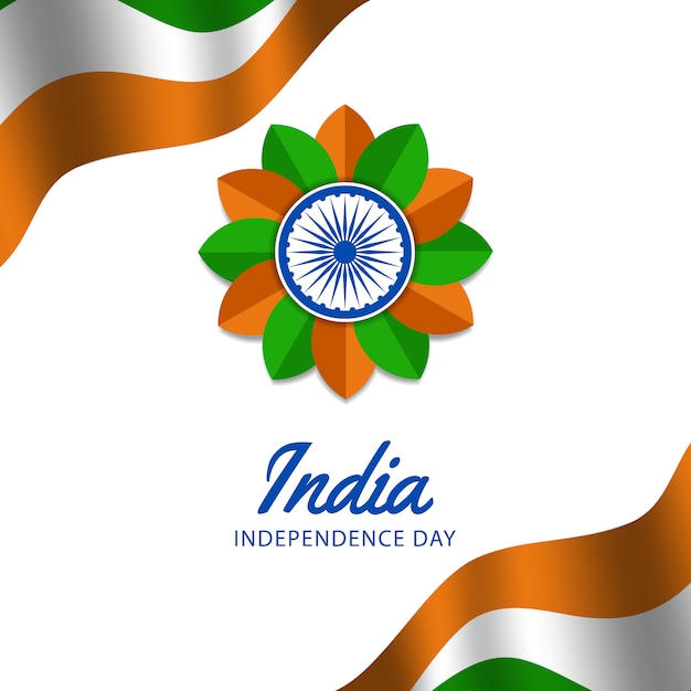 Feliz dia da independência da índia Vetor Premium