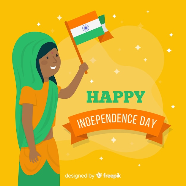 Feliz dia da independência da índia Vetor grátis