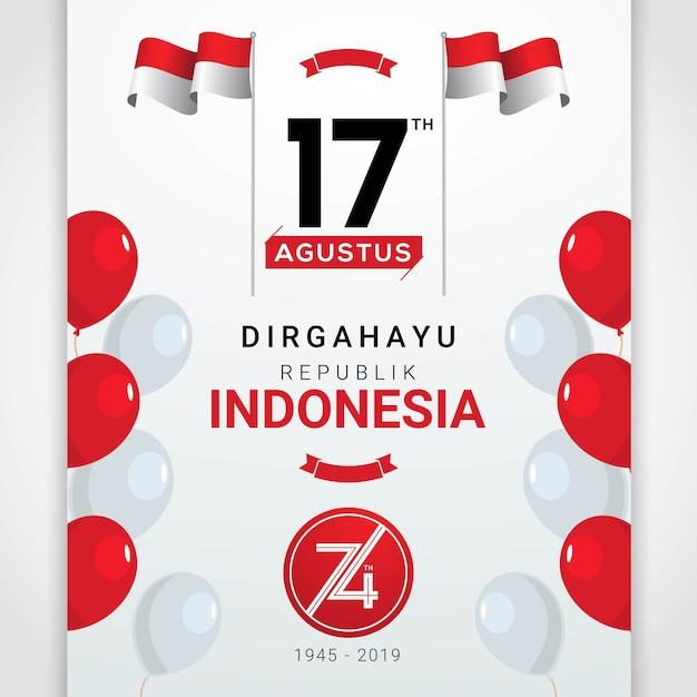 Feliz dia da independência da indonésia cartão Vetor Premium
