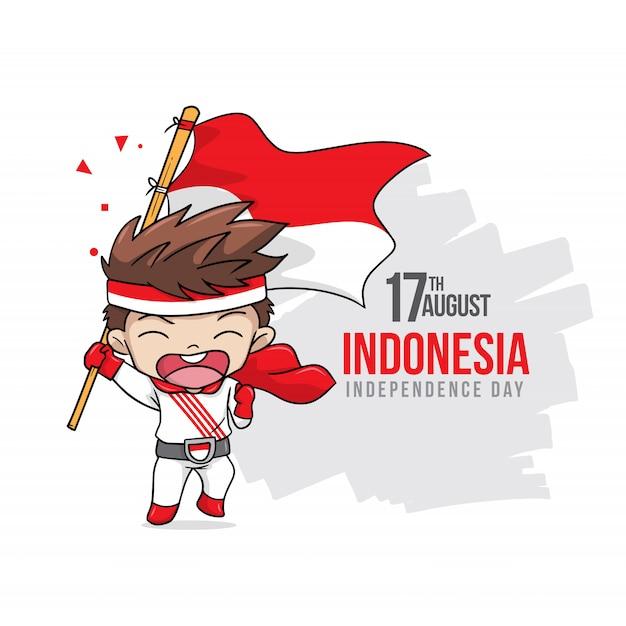 Feliz dia da independência da indonésia com crianças felizes Vetor Premium