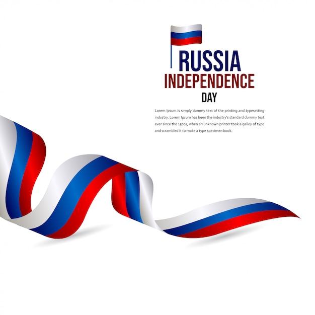 Feliz dia da independência da rússia modelo de vetor de celebração Vetor Premium