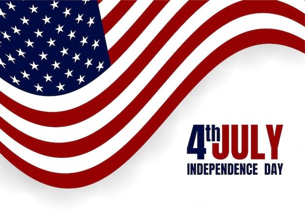 Feliz dia da independência dos eua 4 de julho. bandeira Vetor Premium