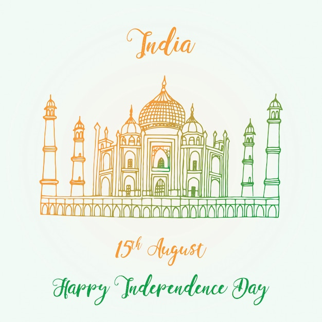 Feliz dia da independência índia Vetor Premium