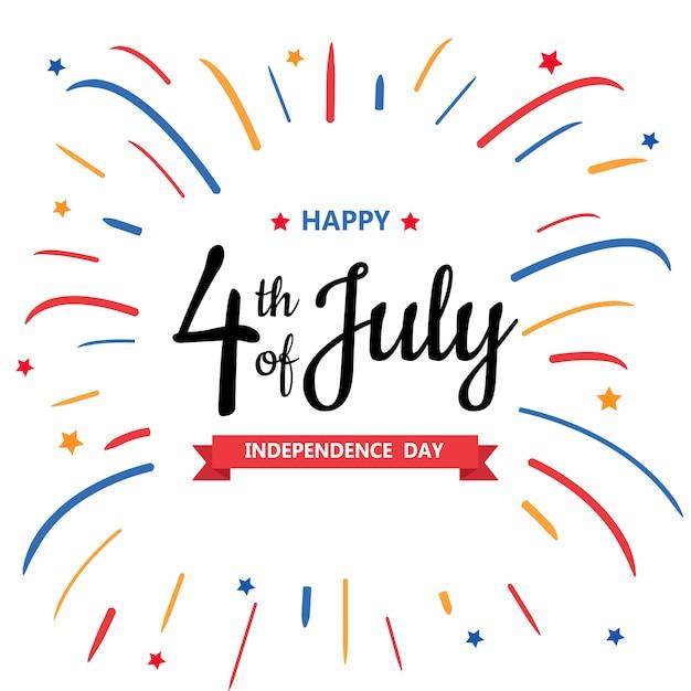 Feliz dia da independência ou 4 de julho Vetor Premium