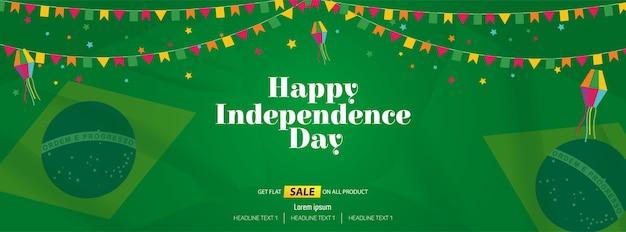Feliz dia da independência venda oferta vector background Vetor Premium