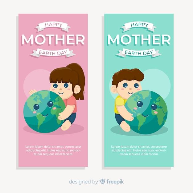 Feliz dia da mãe terra Vetor grátis