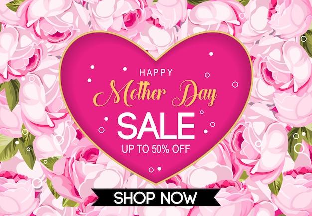 Feliz dia da mãe venda de fundo vector Vetor Premium
