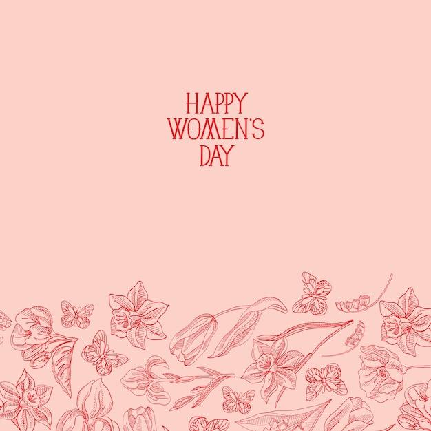 Feliz dia da mulher cartão com muitas flores à direita do texto em vermelho com ilustração vetorial de saudações Vetor grátis