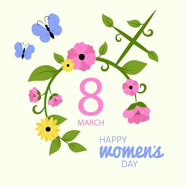 Feliz dia da mulher com flores e borboleta Vetor grátis