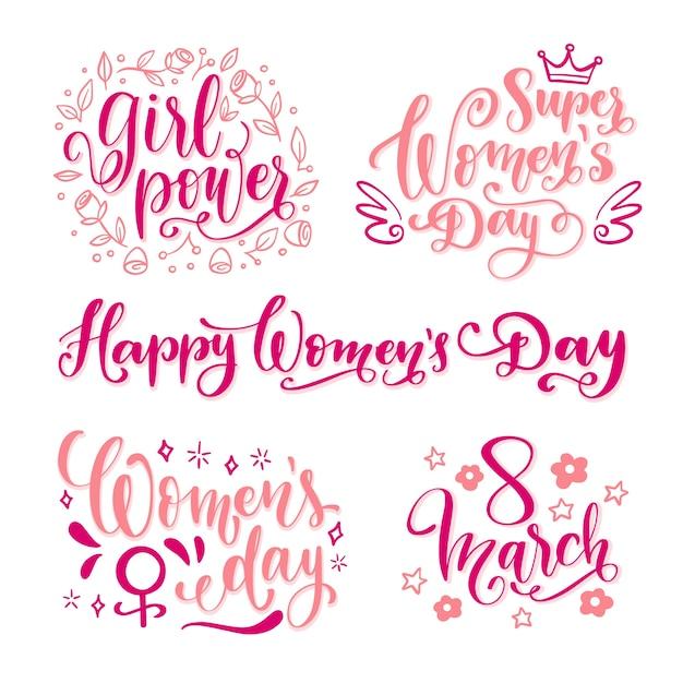 Feliz dia da mulher lettering conjunto de etiquetas Vetor grátis
