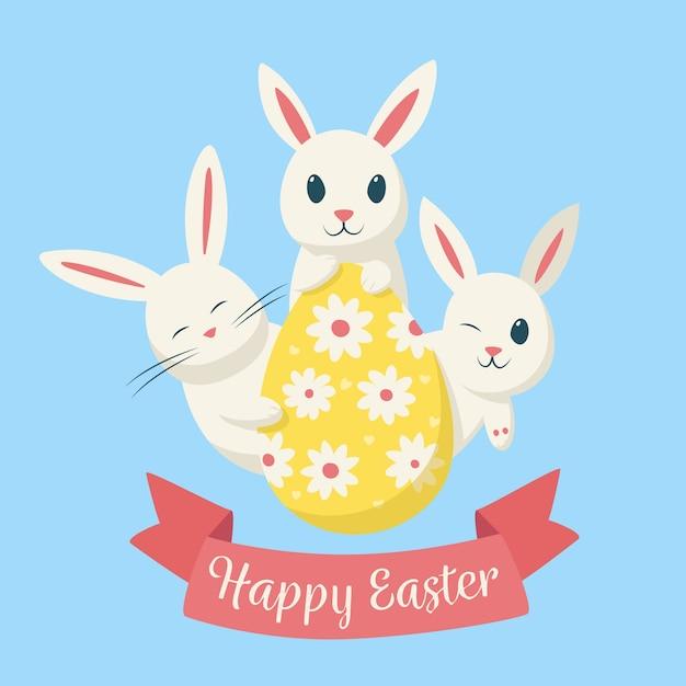 Feliz dia da páscoa desenhados à mão Vetor grátis
