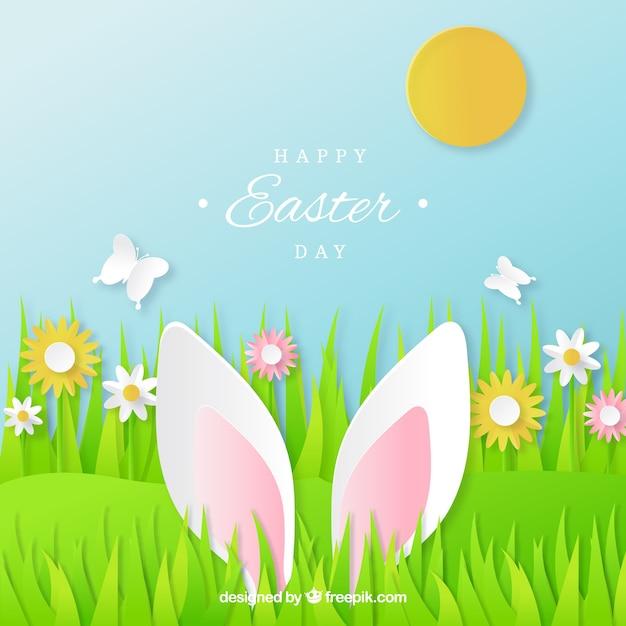 Feliz dia da páscoa no papel Vetor grátis