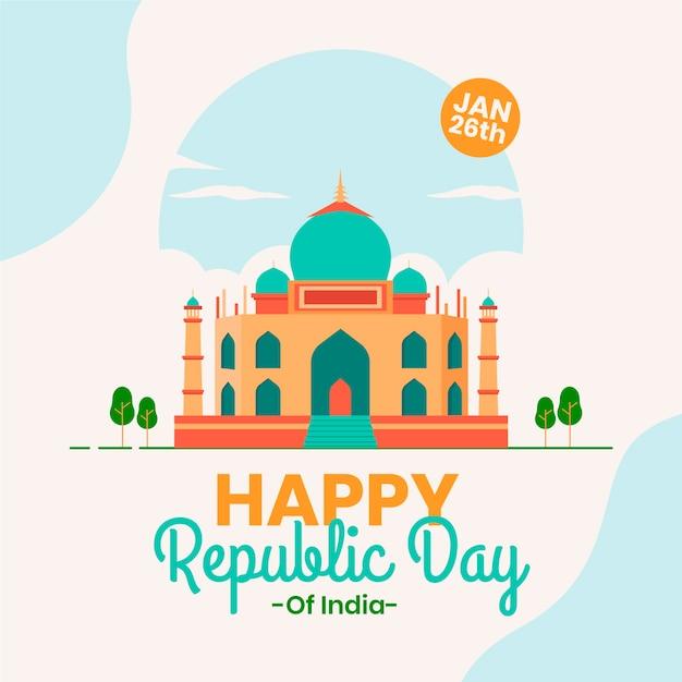 Feliz dia da república indiana em design plano Vetor grátis