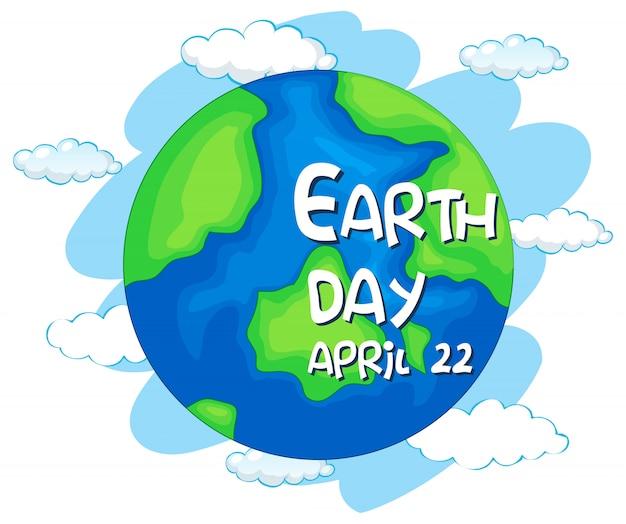 Feliz dia da terra, 22 de abril Vetor grátis