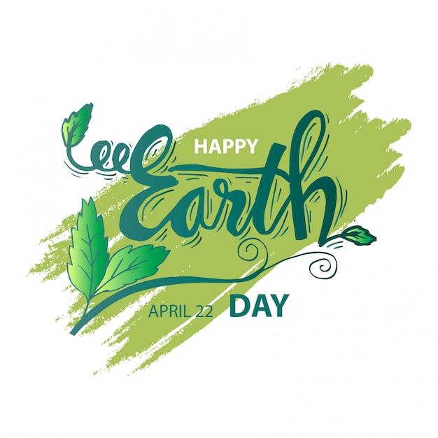 Feliz dia da terra. 22 de abril Vetor Premium