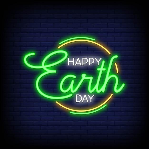 Feliz dia da terra para cartaz em estilo neon Vetor Premium