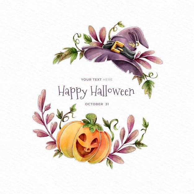 Feliz dia das bruxas, abóbora e chapéu de bruxa Vetor grátis