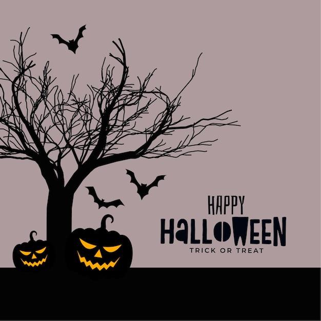Feliz dia das bruxas assustador design de cartão assustador Vetor grátis