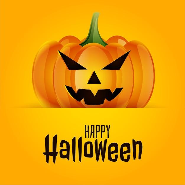 Feliz dia das bruxas assustador fundo de cartão de abóbora assustador Vetor grátis
