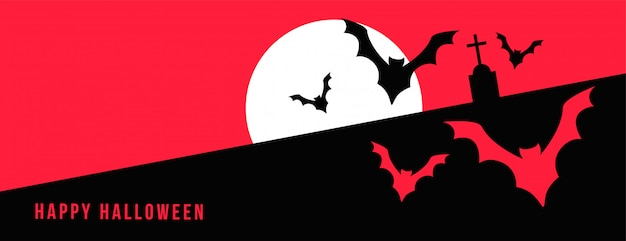 Feliz dia das bruxas banner com lua cheia e morcegos voando Vetor grátis
