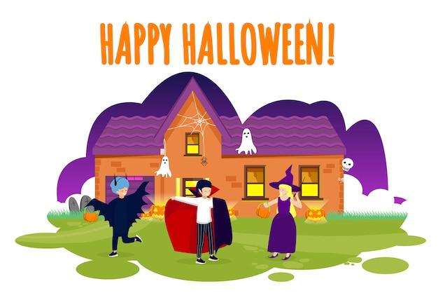 Feliz dia das bruxas cartão crianças em trajes Vetor Premium