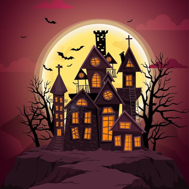 Feliz dia das bruxas com a noite e o castelo assustador. Vetor grátis