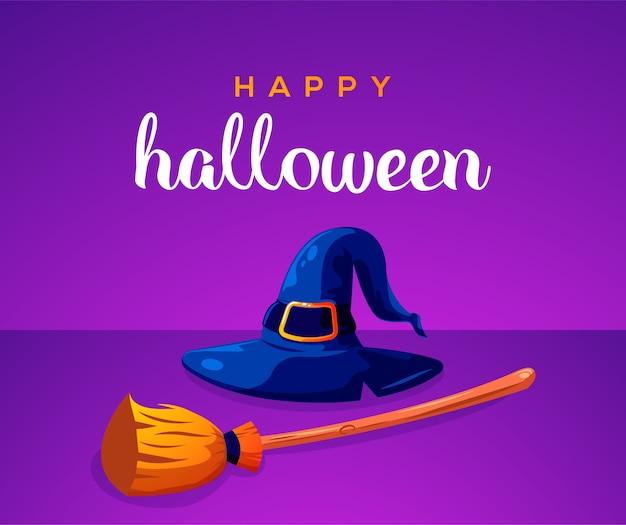 Feliz dia das bruxas com chapéu de bruxa e vassoura de bruxa Vetor Premium
