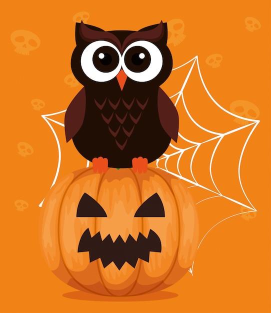 Feliz dia das bruxas com coruja e abóbora Vetor grátis