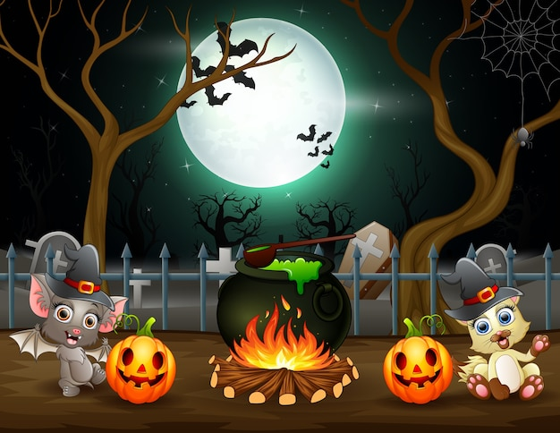Feliz dia das bruxas com um morcego e uma raposa preparando uma poção Vetor Premium
